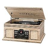 Victrola Reproductor de registro Bluetooth 4 en 1 con tocadiscos de 3 velocidades y radio FM, granja avena