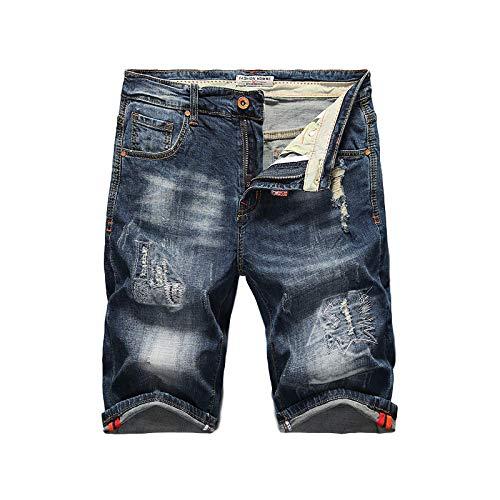 Pantalones Vaqueros para Hombre Verano Pantalones Cortos de Mezclilla Bordados Personalizados Pantalones Casuales Lavables elásticos Rectos Delgados Europeos y Americanos 38