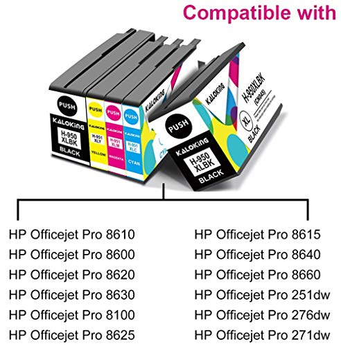 Kaloking Compatible Ink Cartridge Replacement for HP 950 951 XL 950XL 951XL Ink Cartridges for use with HP OfficeJet Pro 8600 8610 8620 8100 8630 8660 8615 8625 276DW 251DW 271DW 5 Pack Photo #6