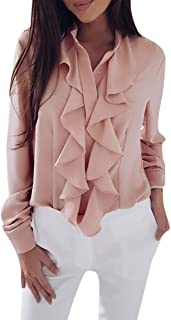 TUDUZ Damen Bluse Elegant Chiffon V-Ausschnitt Langarm Oberteil mit Rüschen Vorne Tunika Hemd T-Shirt