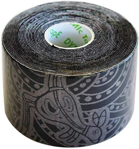 Dynamisches Tape Tattoo, hochelastisches biomechanisches Tape, Muskel-Skelett-Tape, Muskelstützband für Sportverletzungen und Genesung, atmungsaktiv, Schwarz, 1 Rolle 5 cm x 31 m