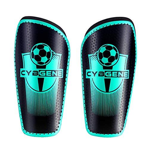 CybGene Schienbeinschoner Fußball für Kinder Herren Damen, Schienbeinschützer für Jugend Erwachsene Fußballausrüstung mit Verstellbare Gurte Grün XS