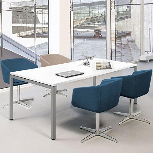 Weber Büroleben GmbH Profi Besprechungstisch 180x80cm NOVA U 4-6 Pers. Konferenztisch Meetingtisch, Gestellfarbe:Silber