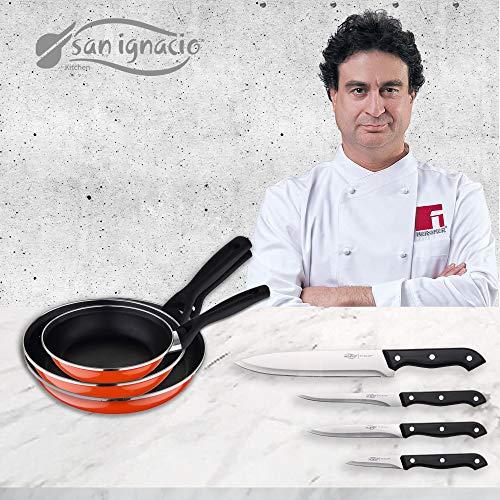 San Ignacio PK1467 3 SARTENES Sunset + Set 4 Cuchillos Cocina, Acero al Carbono