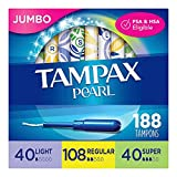 Tampax Pearl Plastic Tampons, Light/Regular/Super Absorbency Multipack, 188 Count, Unscented (47 Count, Pack of 4 - 188...