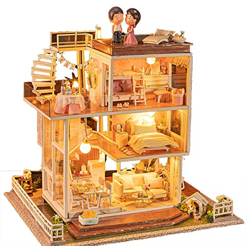 YouthRM Dollhouse with Furniture, House Building,Dream Doll House for Little Girls Kids Suitable for Children Over 14 Years Old Or with The Help of Adults