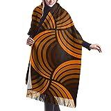 Spice astratto marrone arancione conchiglia zucca retrò anni '70 anni '60 anni '60 audace sciarpa da donna autunno inverno sciarpa classica scialle avvolgente regalo di natale per mamma fidanzata sore