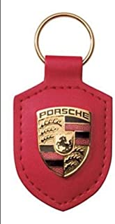 Porsche Keyring Red Leather Key Chain Key Ring