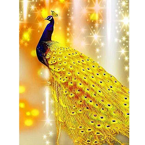 Cuadro de bricolaje pintura de diamante pavo real diamante redondo 5D bordado de diamantes de imitación decoración del hogar regalo A1 50x70cm