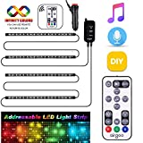 Dreamcolor Interior Car Lights, Music Under Dash Car Lighting, 2020 New Waterproof 4pcs 72 LED Car Underdash Lighting Kit with RF Remote 50+ Unique Dynamic Mode, Speed and Mic sensitivity adjustable