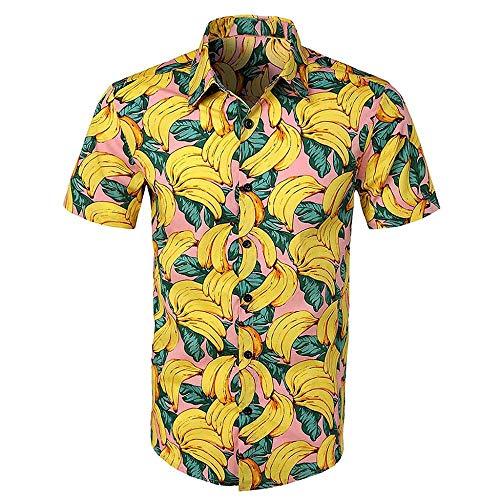 VJGOAL Hombres Camisa con Estampado Floral Hawaiana botón de la Solapa Camiseta de Manga Corta Verano Casual Blusa de Playa Tops(Medium,Amarillo)