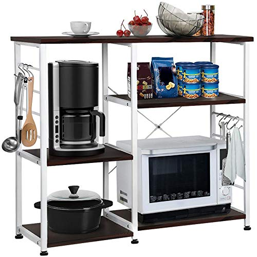 Yaheetech 35.5 inches Kitchen Baker's Racks Microwave Stand Utility Oven Stand Shelf Storage Cart 3-Tier Workstation for Spice Rack Organizer w/ 6 S-shaped Metal Hooks