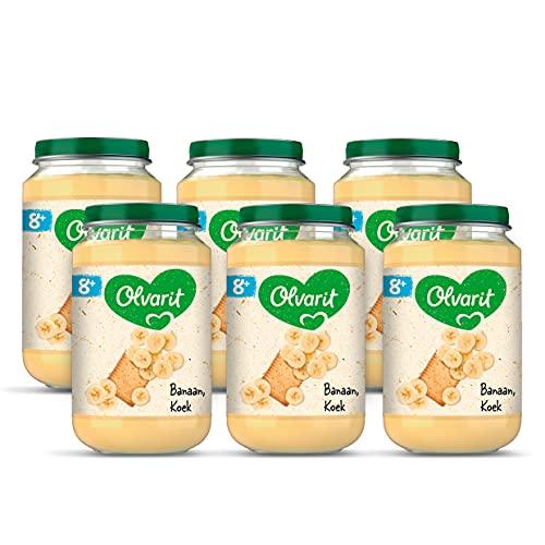 Olvarit Banaan Koek - fruithapje voor babys vanaf 8+ maanden - 6x200 gram babyvoeding in een fruitpotje