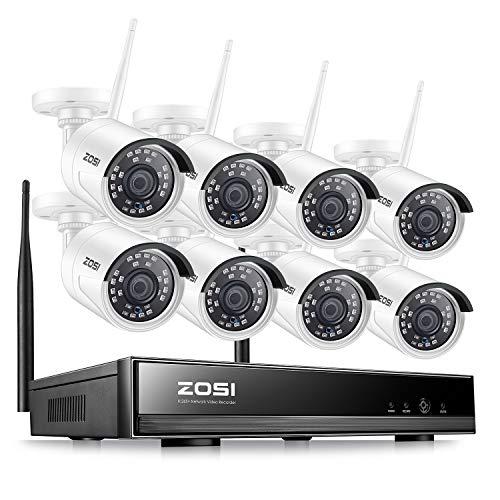 ZOSI Full HD 1080P Wireless Überwachungskamera System 8CH 1080P WLAN NVR mit 8 HD 2MP Outdoor Funk Kamera Set ohne HDD, 20M IR Nachtsicht