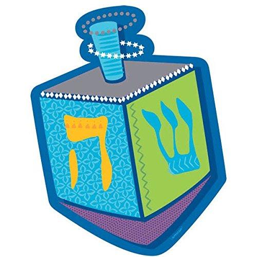 amscan Joyous Hanukkah Festival Dreidel Cutout Wall Decoration (1 Pack), 8' x 5 3/16', Blue/Teal