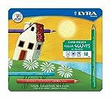 LYRA 3941181 Farb-Riesen Metalletui mit 18 Farbstiften, farbig sortiert -