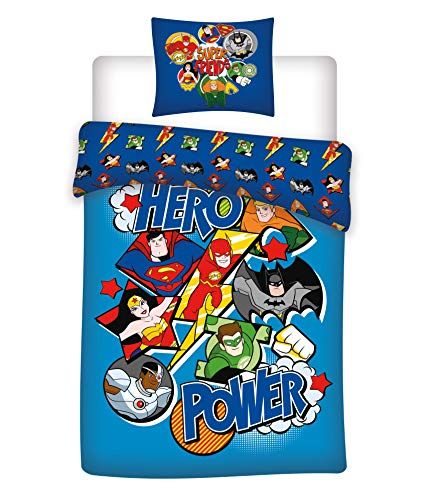 DC Comics – Juego de cama infantil de Super Héros – Funda nórdica de algodón