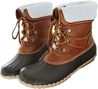 Fashare Womens Waterproof Winter Snow Duck Boots Lace up Combat Fold Down Two Tone Insulated Rain Shoes