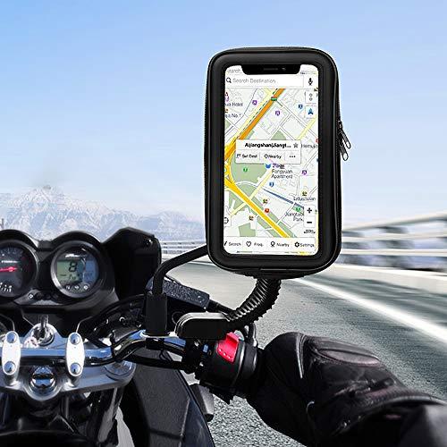 unibelin Support Téléphone Etanche 360° Rotatable Support Moto Universel scooter rétroviseur avec Imperméable Support Telephone Moto pour iPhone XS Max/X/8 Plus,Galaxy S9 Smartphone jusqu'à 6,2 pouces