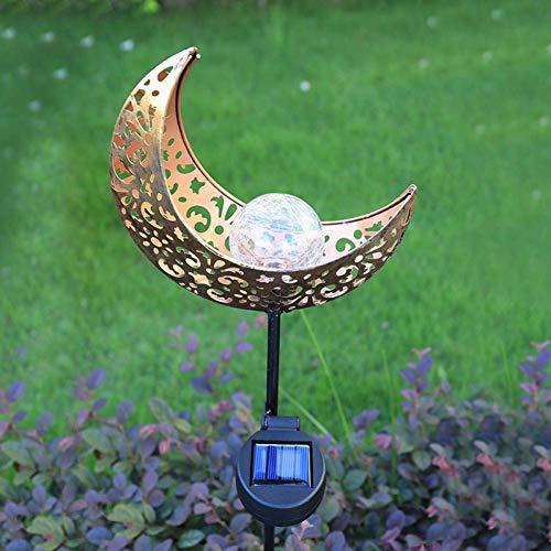 LED Luz Solar Lámpara de césped al Aire Libre para Exteriores Decoración de jardín con energía Solar subterránea Impermeable Luna Luna Llama Forma luz Solar 1pcs fengong