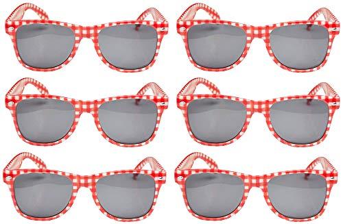 Das Kostümland 6er-Set Rot Weiß Karierte Brille Andreas
