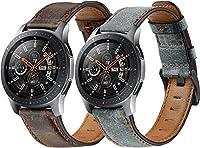 コンパチブル Galaxy Watch 46mm / Watch 3 45mm / Gear Live Band FancyBar® 本革 交換時計バンド 高級 レザー ビジネス用 腕時計ベルト(22mm, コーヒー + グレー)