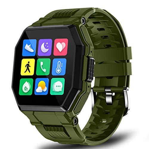 ACONAG 2021 Nuevos Hombres Smart Watch Bluetooth Call Full Touch Sport Fitness Tracker Presión Arterial Tasa del corazón SmartWatch Control de música (Color : Army Green)