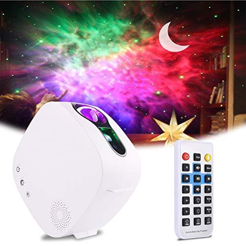 Proiettore LED Luce Notturna, ALED LIGHT 4-in-1 Lampada Proiettore Luna Rotante a 360 ° con Telecomando RF e Altoparlante Bluetooth, Proiettore Cielo Stellato per Bambini Regalo Natale Famiglia
