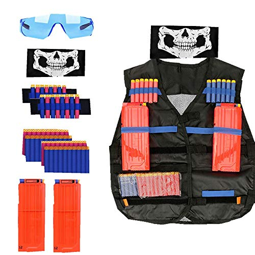 W-family Kids Tactical Vest Kit for Nerf Guns N-Strike Elite Series, with 40 Pcs Refill Darts + 2 Quick Reload Clips+ Face Mask + 2 Hand Wrist Band + Protective Glasses