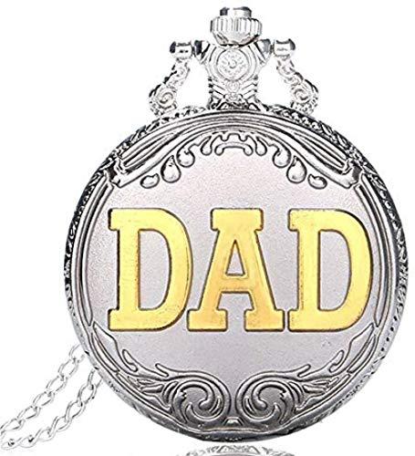 YOUZYHG co.,ltd Reloj de Bolsillo Plata Oro papá Reloj de Bolsillo de Cuarzo Cadena Vintage Cadena Cadena Hombres Reloj Dia del Padre Esfera Blanca Regalos