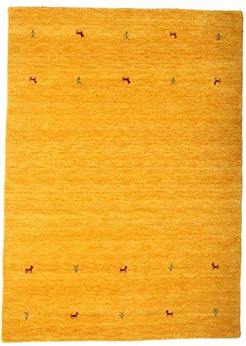 RugVista Teppich Gabbeh Loom Two Lines, Kurzflor, 160 x 230 cm, Rechteckig, Gabbeh, Wolle, Schlafzimmer, Wohnzimmer, Gelb