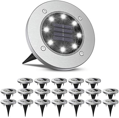BrightRight Outdoor Solar Pathway Disk Lights 20 Lights 8 White LED Waterproof Decorative Landscape product image