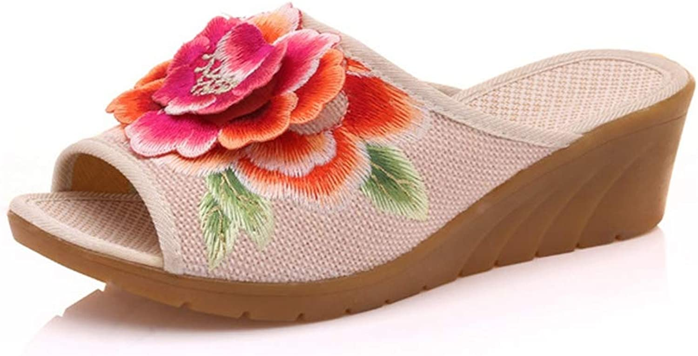 Btrada High Heels Women Slippers 3D Floral Embroidered Linen Wedge Summer Slippers Outside Walking Sandal