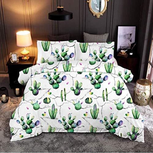 Meimall Juego De Ropa De Cama De 3 Piezas Verde Cactus Flores Plantas 150X220 Cm Microfibra Suave Transpirable Moderno Juego De Fundas Edredón con 1 Funda Nórdica + 2 Funda De Almohada