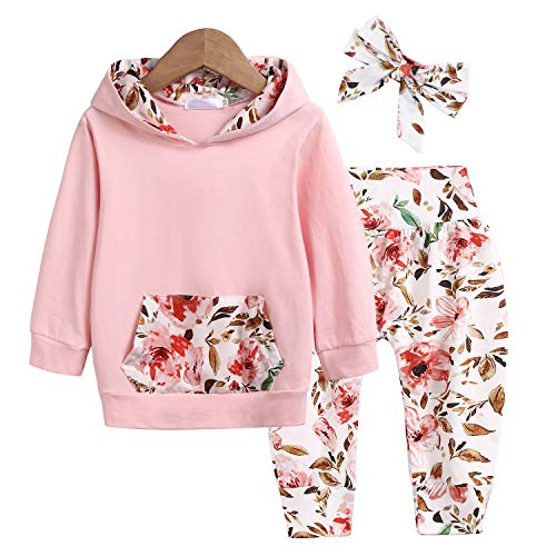 trudge 3 Stück Babykleidung Set Neugeborenes Kleinkind Baby Mädchen Langarm Floral Hoodie Sweatshirt+ Hose+ Bogen Stirnband Outfits Warme Kleidung Sets Rosa 12-18 Monate