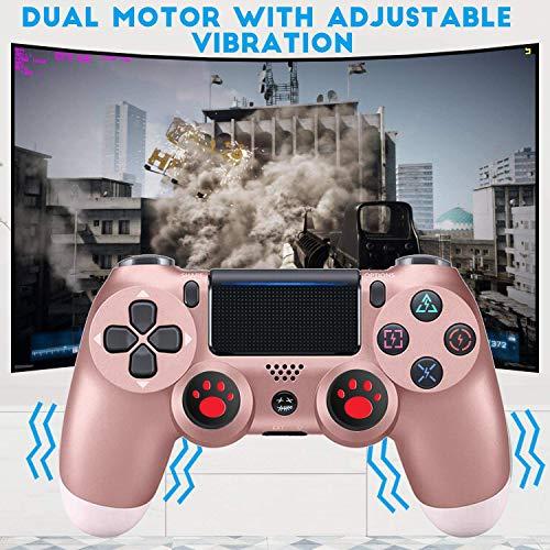 Controller für PS4, USB Lade Bluetooth Gamepad, Kabelloser Joystick mit Audio Buchse Dual Vibration und Touchpad,Rose Gold