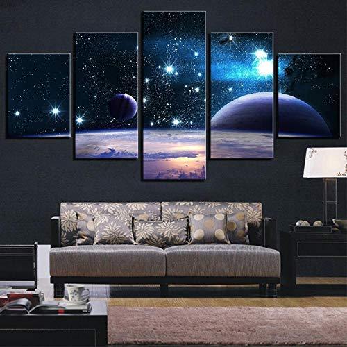 XQJBH 5 Cuadros De Lienzo Universo Galaxy Space Planet 150X100Cm Cinco Impresiones En La Pared Imagen De Arte Lienzo Impresión De Arte De Pared Foto Imagen Impresión De Lienzo Obras De Arte Modernas D
