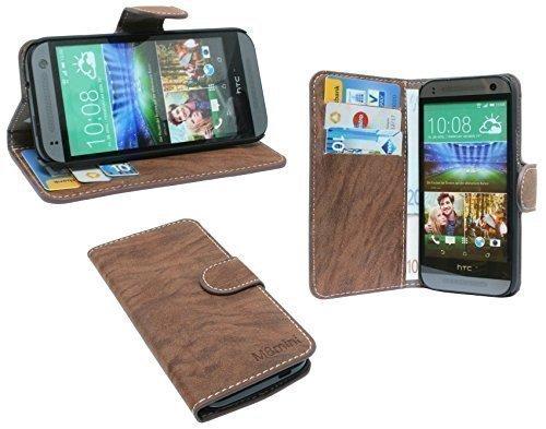 ENERGMiX Buchtasche kompatibel mit HTC One Mini 2 Hülle Case Tasche Wallet BookStyle mit Standfunktion in Braun