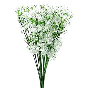 Artificial and Dried Flower Practical 12 St Artificial White Gypsophila Silk Flower Bunch Baby's Breath – ( Color: White )