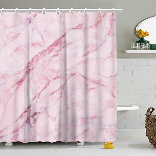 Stacy Fay Duschvorhang mit 12 Haken, rosa Marmor, rosa Duschvorhänge-Set für Badezimmer, rosa 3D-Crack-Dekor, wasserdichter Polyester-Stoff, 183 x 183 cm