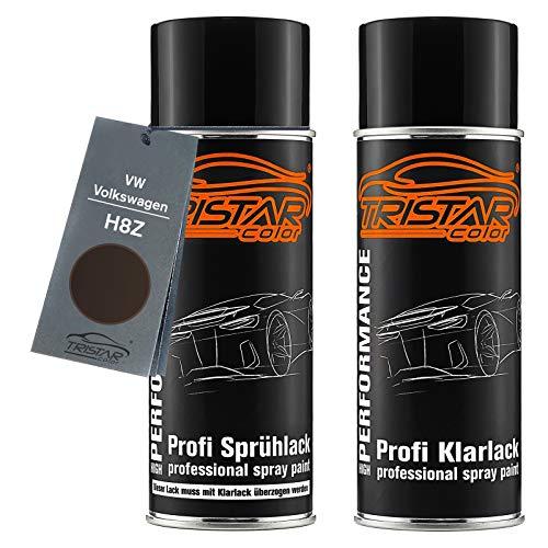 TRISTARcolor Autolack Spraydosen Set für VW/Volkswagen H8Z Toffee Braun Metallic/Toffee Brown Metallic Basislack Klarlack Sprühdose 400ml
