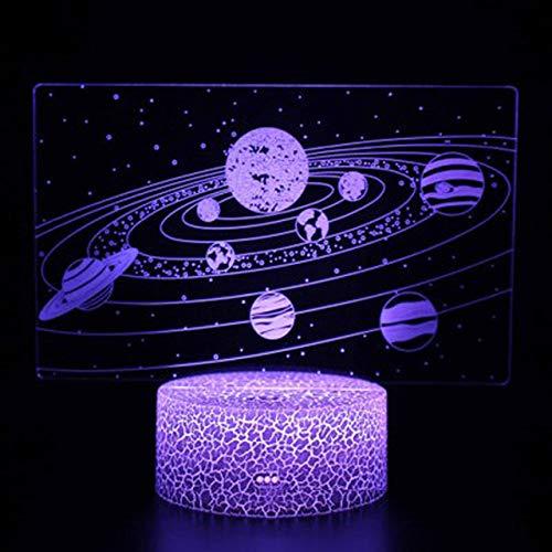 LvJin 3D Lampe Illusion Nachtlicht Mars Erde Thema , Crack base 16color remote control, Halloween Geschenke, Moderne Lampe, kreatives Geschenk, Kleine Tischlampe