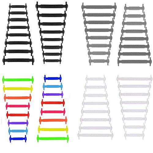 Lacci Silicone 4 Coppie No Cravatta Lacci Multicolore Nero Grigio Bianca Impermeabile Lacci delle Scarpe Elastici per Scarpe Sneakerboots Bordo e Scarpe Casual