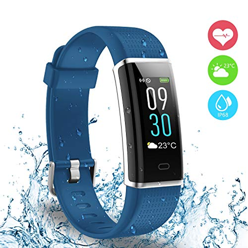 AUSUN Fitness Tracker IP68, 130 Plus Color Touchscreen Activity Tracker Smart Wristband con Donna per iOS e Android, Blu
