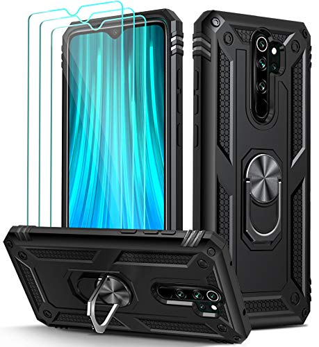 iVoler Cover per Xiaomi Redmi Note 8 PRO con 3 Pezzi Pellicola Vetro Temperato, Grado Militare Custodia Protezione con Anello Ruotabile Cavalletto, Antiurto TPU Bumper Case - Nero