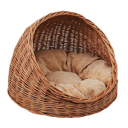 GalaDis 2-9-1 Katzenhöhle Weide mit hellem Kissen/Katzenkorb/Katzenbett, sowohl für Katzen als auch kleine Hunde