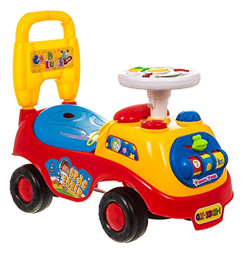 Lettuce Eat ® My First Ride On and Push Along Buggy Car Colourful First Steps Toddler Walker Learning Toy with Sounds and Accessories (RED)