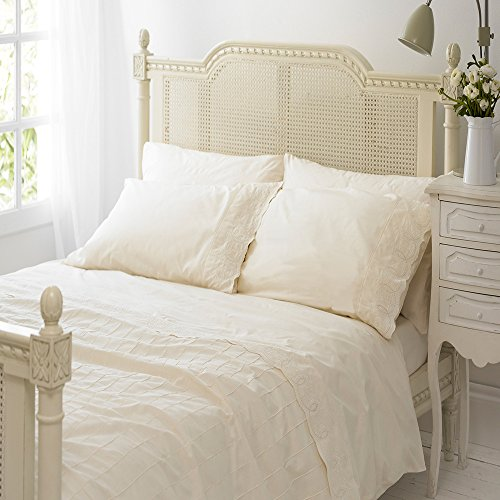 Merryfeel Cotton Duvet Cover Set,100% Cotton Embroidery Lace with Pintuck Pleat Duvet Cover Set- Cream - King