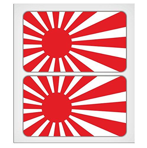 Adesivo laminato con bandiera del Giappone con sol levante, 70 mm, di MioVespa Collection, confezione da 2 pezzi