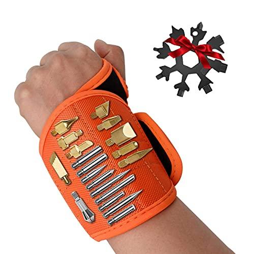 NXM Magnetisches Armband Magnetarmband Handwerker Mit Starken Magnetische Armbänder Armband Werkzeug Armband Für Heimwerker/DIY Gadgets/Schrauben/Nägel Bohrernn,Orange